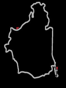 Nurburgring banekart med GP-strecke uthevet